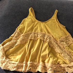 Tops - lace yellow tank